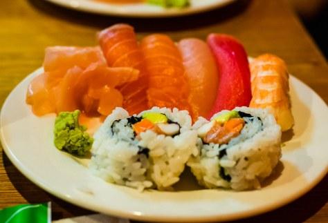 Kansai Bento Box A (part 2) - assorted sushi; salmon, tuna, ebi, maki