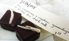 &lt;p&gt;Lime &amp;amp; raspberry cashew gianduja in Kenshi 70% dark milk topped w a strip of candied lime.&lt;/p&gt;