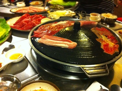 Cooking Korean BBQ at Tong 86