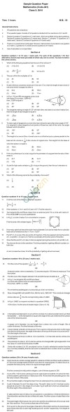 CBSE Sample Papers for Class 10 SA2 – Mathematics Image by AglaSem