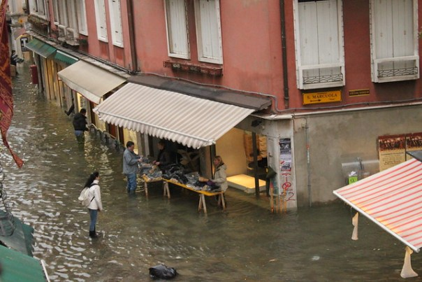Wellie boot stall, Venice acqua alta 2012
