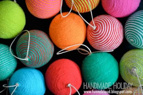 handmade holiday | yarn ball ornaments