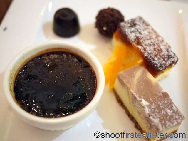 chocolate creme brulee, marble cheesecake, chocolate truffles