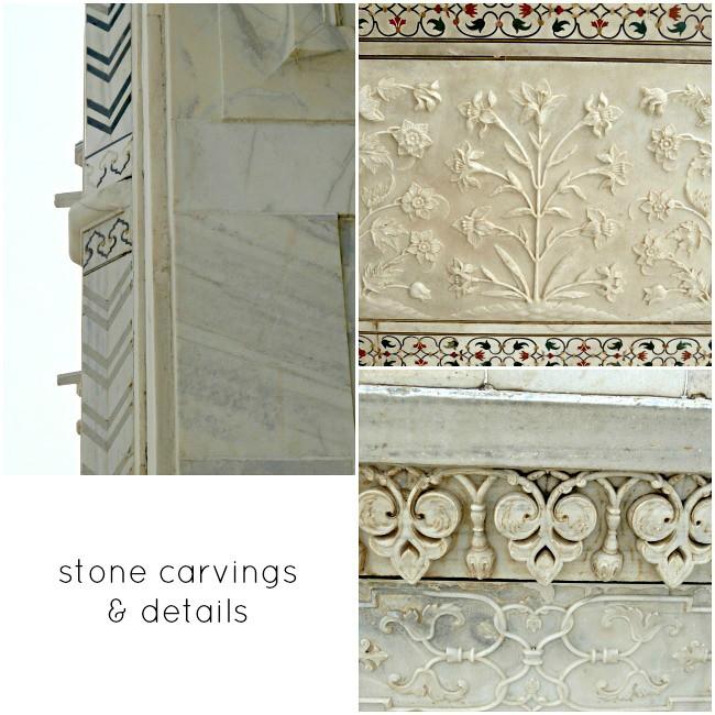 taj mahal stone carving & details