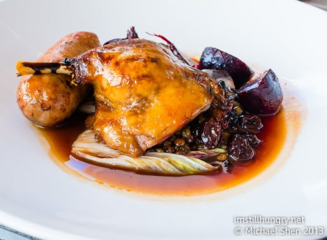 Cafe Sydney Twice cooked duck leg, foie gras sausage, beetroot, fig, puy lentil, vino cotto, jus