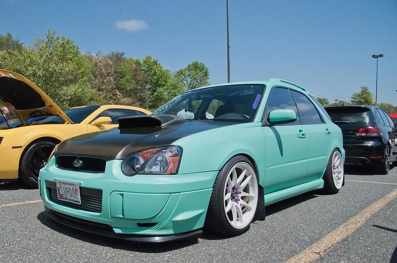 teal Subaru WRX wagon