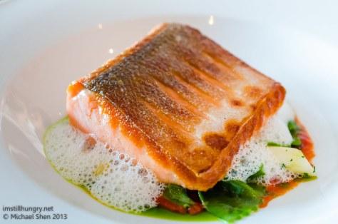 Aria Seared fillet of king salmon w/white asparagus, herb farfalle & pine nuts
