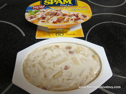 SPAM Meal for 1 SPAM & Penne Pasta in Alfredo Sauce Closeup