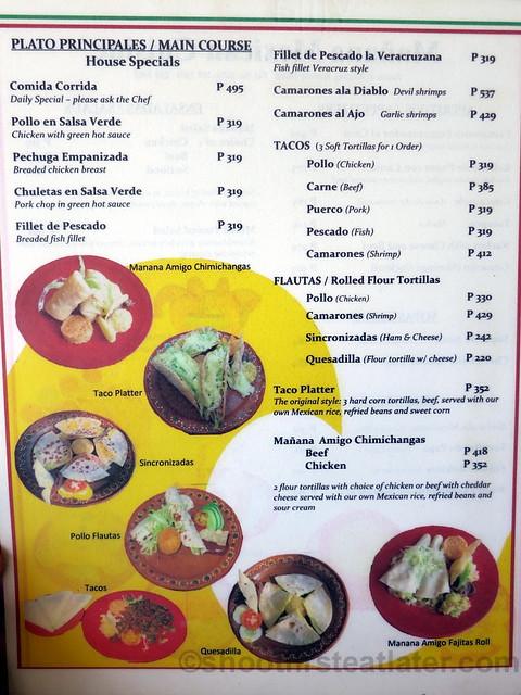 Mañana Mexican Cuisine menu