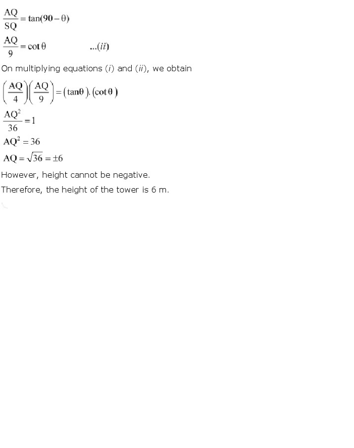 NCERT Solutions for Class 10th Maths: Chapter 9   Some Applications of Trigonometry