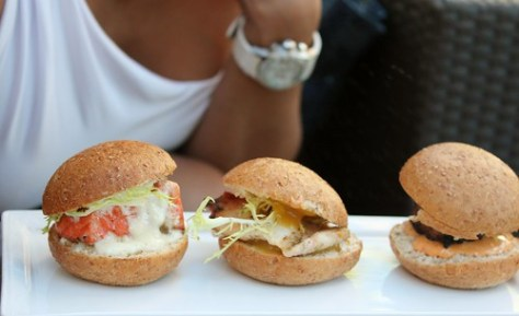 Sliders ($11) 14  Salmon with garlic aioli, chicken with mango relish and beef with  Chipotle mayo