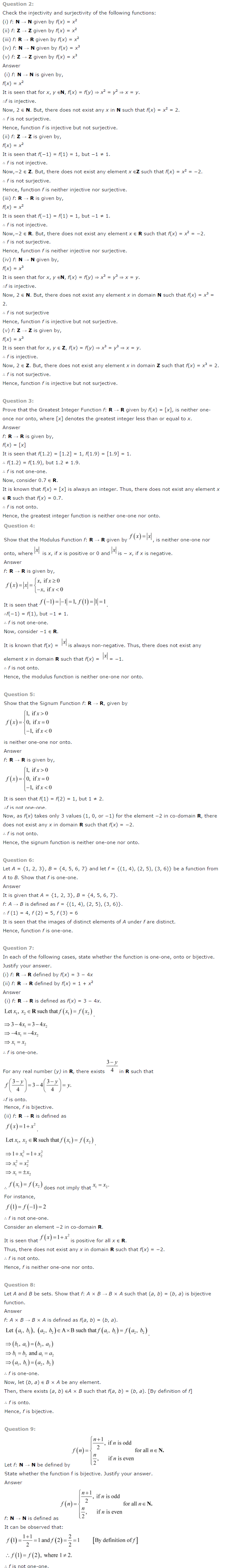 NCERT Solutions for Class 12th Maths Chapter 1   Relations and Functions