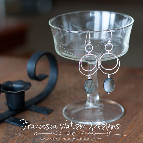 Double Hoop Earrings with Shell Dangle by Francesca Watson Designs