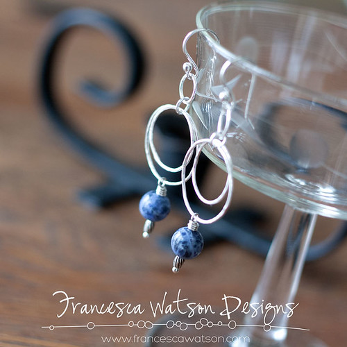 Double Hoop Earrings with Denim Jasper by Francesca Watson Designs