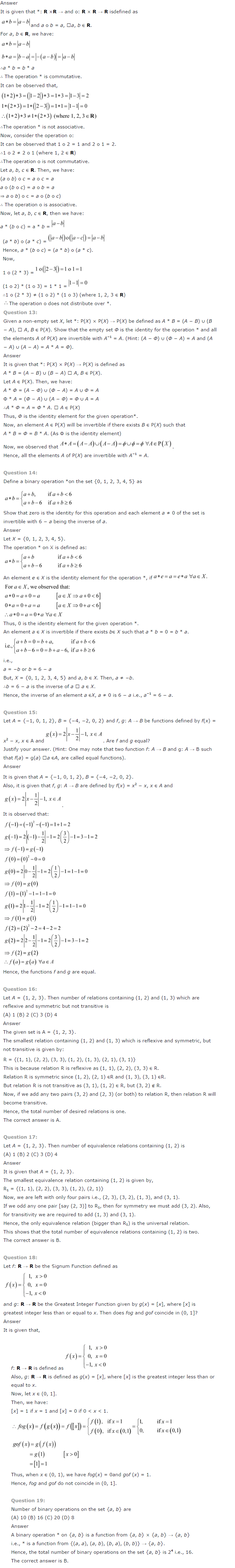 NCERT Solutions for Class 12th Maths Chapter 1   Relations and Functions Image by AglaSem