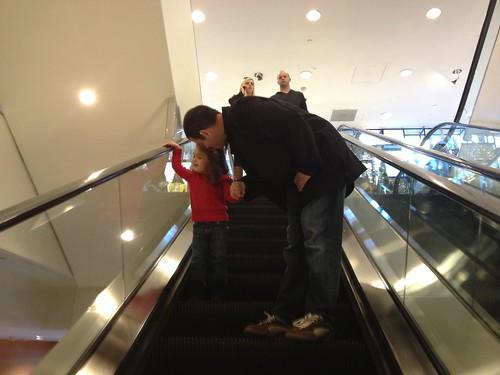 escalator with daddy
