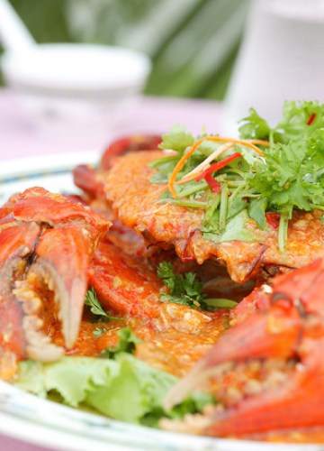 Yummy chili crabs.