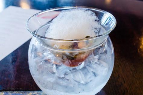 Ocean Room Namagaki - freshly shucked Sydney rock oyster, spicy sangrita cloud, tomato air