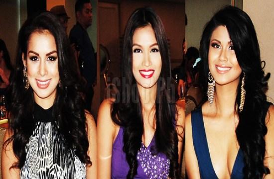 Binibining Pilipinas International 2012 Nicole Schmitz; Miss Universe-Philippines 2012 Janine Tugonon; and Binibining Pilipinas Tourism 2012 Katrina Dimaranan.