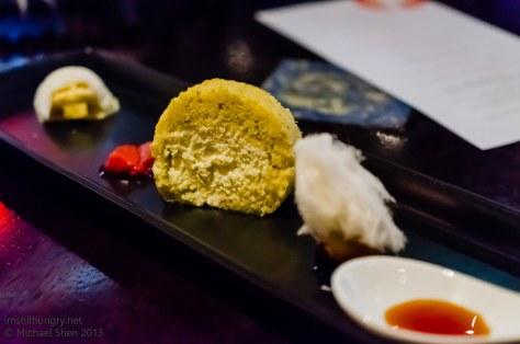 Ocean Room Nori & shoyu angel cake - vanilla & soy infused ice cream, soy caramel, spiced vanilla ice cream