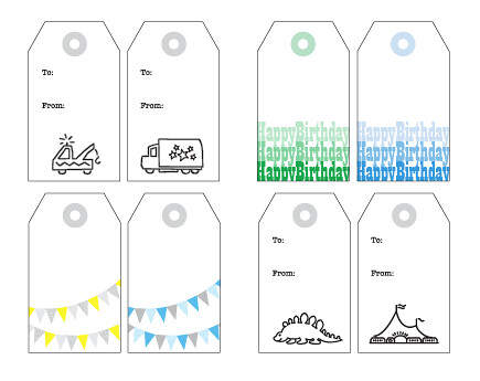 Free printable happy birthday party gift tags for boys download pdf