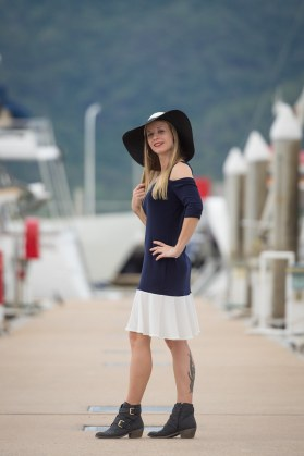 Mermaid Dress with Fitted Cold Shoulder Sleeves | Nautical (Indigo and White).