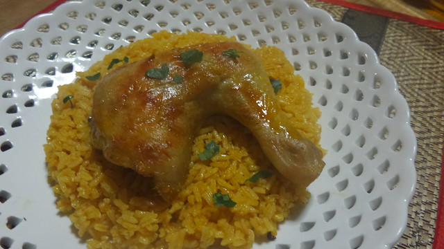 Chicken inasal paella