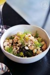 Morcilla with sweet apple, fennel and salted cinnamon popcorn