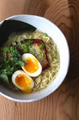 Shio pork belly ramen with kale at Kuma
