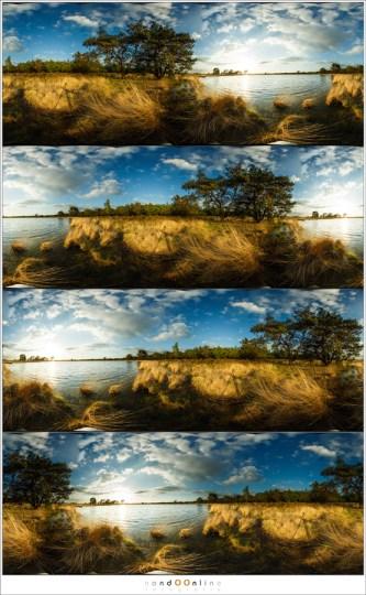Vier verschillende 'composities' door de zijkanten van de foto anders te leggen. Hiermee is het mogelijk om een fijne opbouw van de foto te realiseren. Ik heb gekozen voor de laatste van dit viertal.