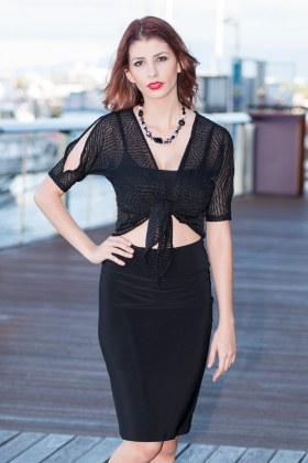 Lace Split Sleeve Tie Top and Straight Skirt