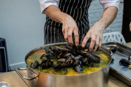 Finishing the Stew with Mussels