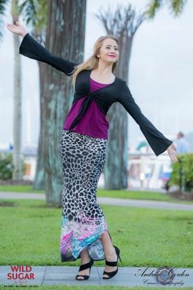 Bell Sleeve Tie Top   Black + Singlet   Magenta + Long Straight Skirt   Elixir