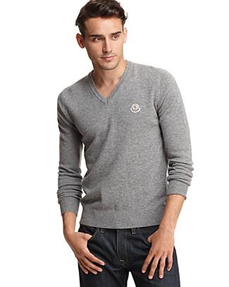 MONCLER V neck sweater for men at bloomingdales on FashionDailyMag