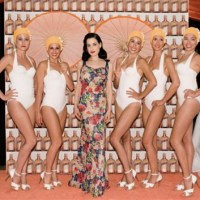 CATCHING up: Dita Von Teese at the POOLSIDE