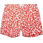 ORLEBAR BROWN red geo pattern shorts