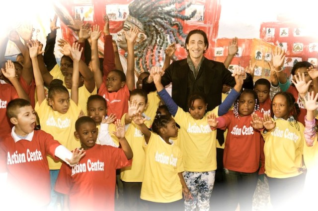 Bulgari Ambassador Adrien Brody Attends Post-Sandy Holiday Party with Children at Far Rockaway's Action Center