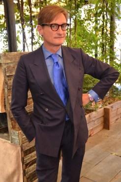 Hamish Bowles at GIGI BURRIS SS15 collection FashionDailyMag