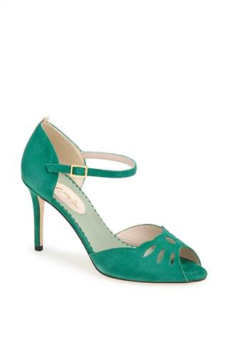"The ""Ina"" shoe in green ($355)"