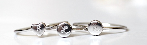 merci maman stackable rings personalised with initials