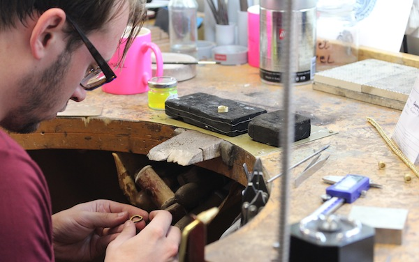 theo fennell the designer man in his studio jewellers bench work in production