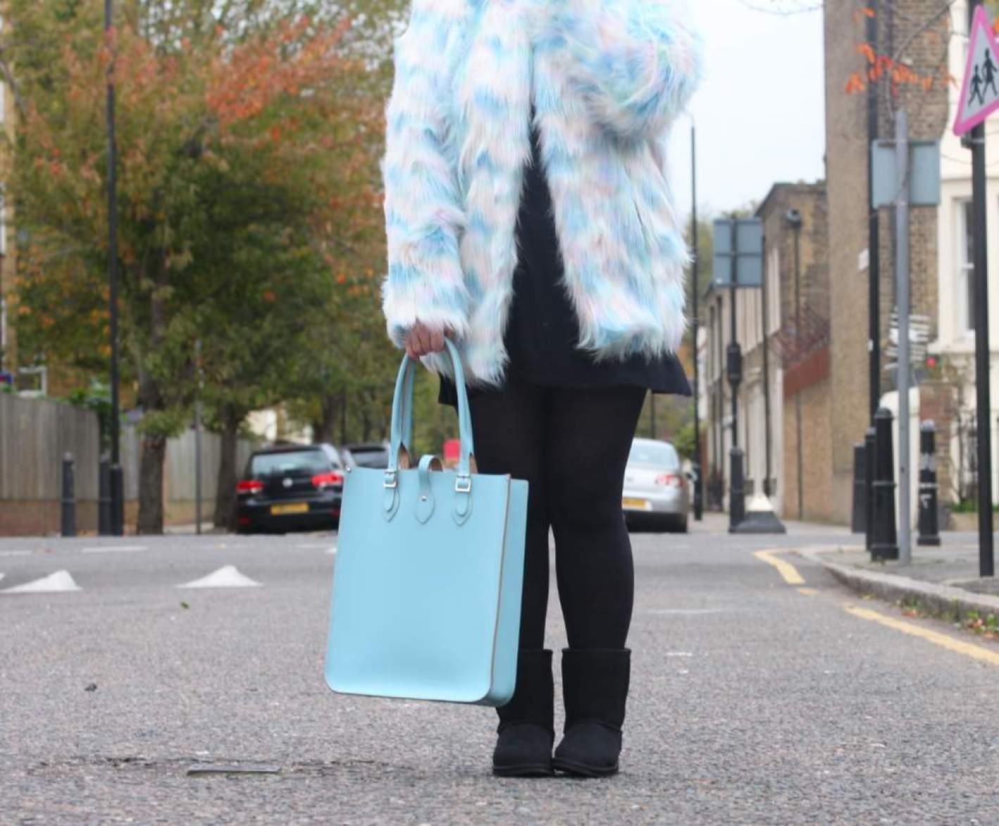 boohoo pastel fur coat