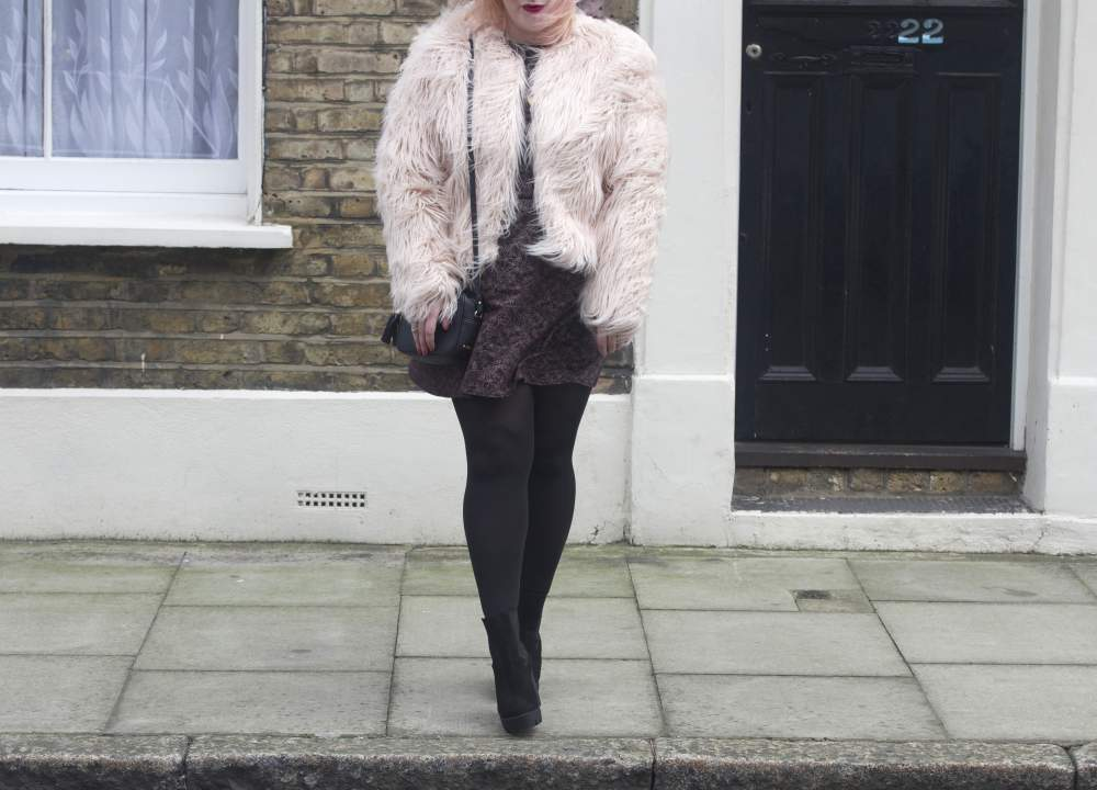 boohoo faux fur jacket with people tree dress pink fur jacket people tree dress peter jensen gigi new york monogrammed handbag dower and hall necklace daniel footwear shoes boots sotd fashion blogger fashion blog best blogs cool hipster fashion style ootd curve plus sized plus size