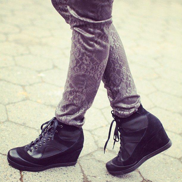 ASOS Suede Sneaker Wedges & Printed Lace Skinny Jeans