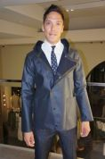 A navy jacket you swear you could wear in the rain but remarkably is 80% wool. #armani #beverlyhills #rodeodrive