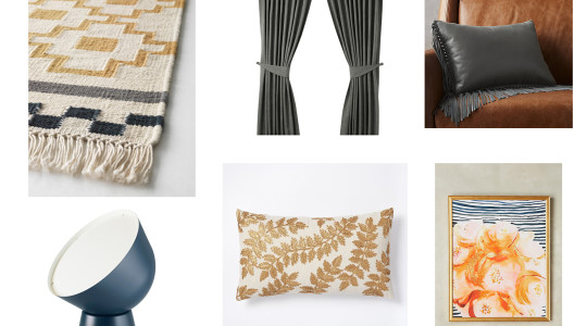 blue, gray and gold home decor inspiration