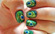 Peacock birds nails art designs (2)