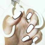 White and black border Party nails designs for girls 2013