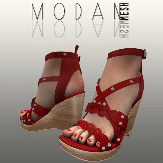 __M.O.D.A.N.M.E.S.H__ Braided Wedge Sandal Red