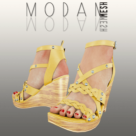 __M.O.D.A.N.M.E.S.H__ Braided Wedge Sandal Yellow